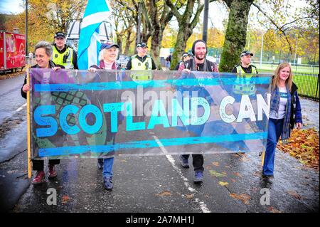 Glasgow, UK. 02nd Nov, 2019. A group of protesters hold a banner saying SCOTLAND CAN during the demonstration.Around 100 protesters marched through the streets of Glasgow to protest against Brexit which got its deadline extended from 31st of October to 31st of January 2020. Credit: SOPA Images Limited/Alamy Live News - Stock Photo