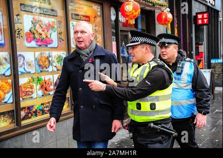 Glasgow, UK. 02nd Nov, 2019. A unionist that shouted Rule, Britannia at marchers is being pushed to the side by Police Scotland in order to stop him during the demonstration.Around 100 protesters marched through the streets of Glasgow to protest against Brexit which got its deadline extended from 31st of October to 31st of January 2020. Credit: SOPA Images Limited/Alamy Live News - Stock Photo