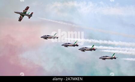 Italian Air Force Frecce Tricolori the world's largest military aerobatic team  performing at the Royal International Air Tattoo 2019 - Stock Photo