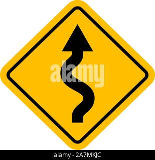 Zigzag traffic sign vector illustration background - Stock Photo