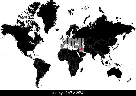 World map with Iraq vector highlighted in red color. Black, white. - Stock Photo