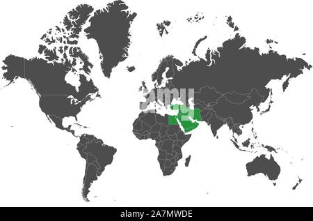 World map highlighted middle east countries with green map vector illustration. - Stock Photo
