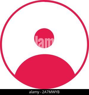 Simple user icon round vector illustration. Spanish crimson color. Perfect for web icon,symbol,button,label etc. - Stock Photo