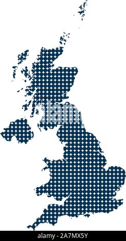 UK map dotted vector illustration. Blue, white color. - Stock Photo