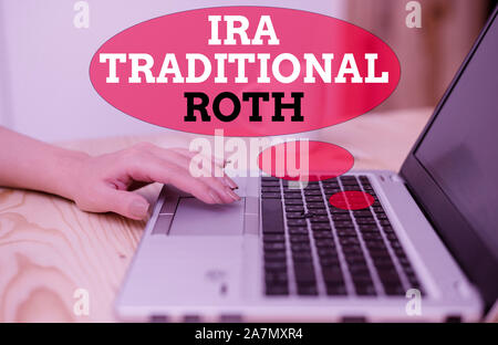 Handwriting text Ira Traditional Roth. Conceptual photo are tax deductible on both state and federal - Stock Photo