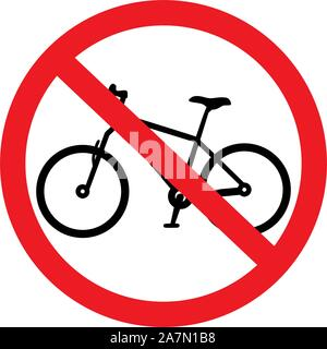 No bicycles sign. Traffic warning symbols vector illustration - Stock Photo
