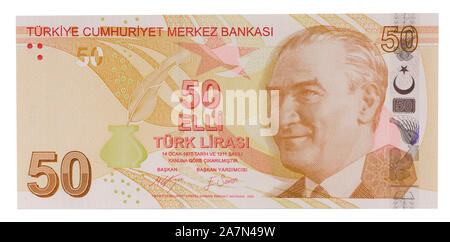 Turkish banknotes, Turkish Lira front side - Stock Photo