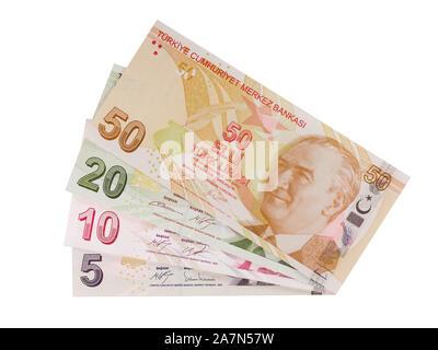 Turkish banknotes, Turkish Lira front side - Stock Photo