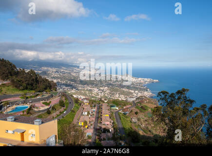 View down from Cabo Girao on Madeira Island, Portugal, the highest cliff in Europe - Stock Photo