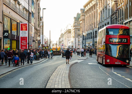 London, UK, February 23, 2019: Rush hour in Oxford Street - Stock Photo