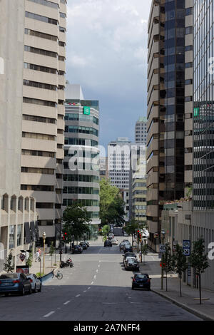 Quebec,Canada. Side street in downtown Montreal - Stock Photo