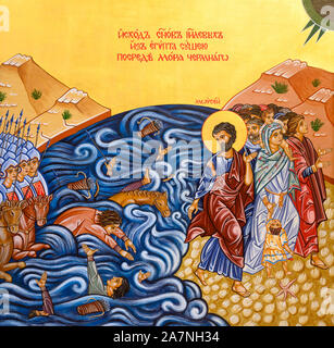 Icon of the Crossing of the Red Sea – Moses leading Israelites through the Sea of Reeds. The Greek Catholic church in Bratislava, Slovakia. - Stock Photo