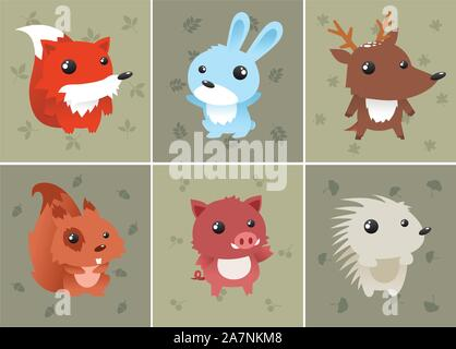Forrest baby animals set includes: squirrel, hedgehog, fox, rabbit, deer and wild boar. Can be used as computer icons. Vector illustration. - Stock Photo