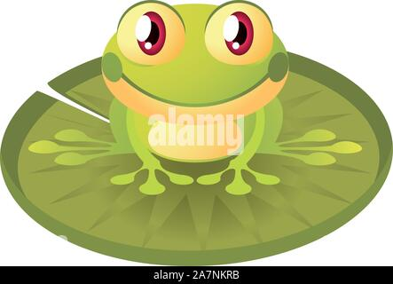 Cute little frog sitting down - Stock Photo