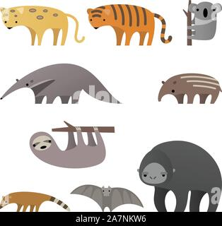 Stylish cartoon Jungle animals vector illustration. - Stock Photo