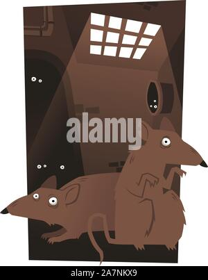 Rats Rodent Cheese Trap Set vector illustration cartoon, with rats inside a tunnel looking for food. - Stock Photo
