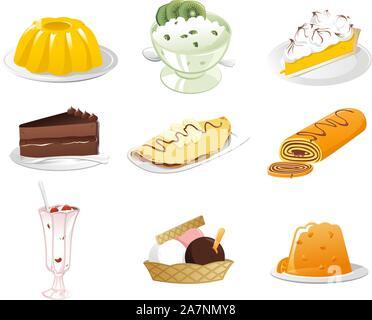 Tasty Desserts icon set - Stock Photo