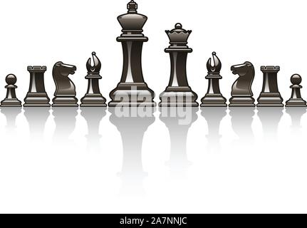 Black Chess pieces vector icon illustrations - Stock Photo