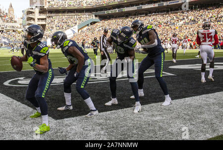 Seattle, United States. 03rd Nov, 2019. Seattle Seahawks wide receiver Tyler Lockett (16) and wide receivers dance after Lockett caught a 19-yard touchdown pass against the Tampa Bay Buccaneers during the first quarter at CenturyLink Field on Sunday, November 3, 2019 in Seattle, Washington. The Buccaneers lead the Seahawks 21-13 at halftime. Jim Bryant Photo/UPI Credit: UPI/Alamy Live News - Stock Photo