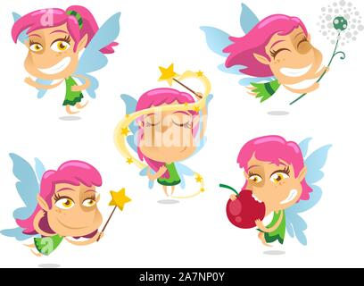 Cute Fairy with wand and flying wings magic, with fairy in different situations like standing, making tricks, flying with wand, playing, eating fairy, - Stock Photo