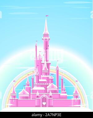 Fairy-tale Pink Sparkly Palace Castle Fortress with Rainbow and flag vector illustration. - Stock Photo