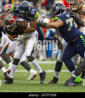 Seattle, United States. 03rd Nov, 2019. Seattle Seahawks middle linebacker Bobby Wagner (54) sacks Tampa Bay Buccaneers quarterback Jameis Winston (3) during the fourth quarter at CenturyLink Field on Sunday, November 3, 2019 in Seattle, Washington. The Seahawks beat the Buccaneers 40-34 in overtime. Jim Bryant Photo/UPI Credit: UPI/Alamy Live News - Stock Photo