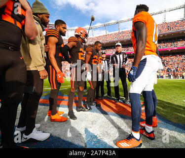November 03, 2019: The coin toss is held before the game between Denver and Cleveland at Empower Field in Denver, CO. Denver held on to win 24-19. Derek Regensburger/CSM. - Stock Photo