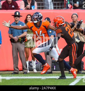 November 03, 2019: Denver Broncos wide receiver Courtland Sutton (14) reaches for a ball as Cleveland Browns cornerback Denzel Ward (21) provides coverage in the first half of the game between Denver and Cleveland at Empower Field in Denver, CO. The pass was too long but the Broncos held on for a 24-19 victory. Derek Regensburger/CSM. - Stock Photo