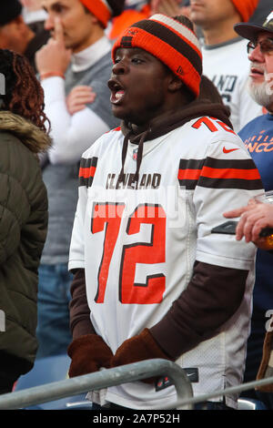 November 03, 2019: A Cleveland fan cheers on his team in the second half of the game between Denver and Cleveland at Empower Field in Denver, CO. Denver hung on to win 24-19 to improve to 3-6. Derek Regensburger/CSM. - Stock Photo