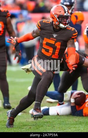 November 03, 2019: Cleveland Browns linebacker Mack Wilson (51) celebrates his sack of Denver Broncos quarterback Brandon Allen (2) in the second half of the game between Denver and Cleveland at Empower Field in Denver, CO. Denver hung on to win 24-19 to improve to 3-6. Derek Regensburger/CSM. - Stock Photo