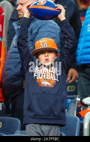 November 03, 2019: A young Broncos fan celebrates a big play in the second half of the game between Denver and Cleveland at Empower Field in Denver, CO. Denver hung on to win 24-19 to improve to 3-6. Derek Regensburger/CSM. - Stock Photo