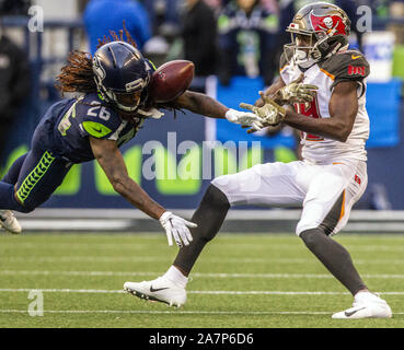 Seattle, United States. 03rd Nov, 2019. Seattle Seahawks cornerback Shaquill Griffin (26) knocked a pass away from Tampa Bay Buccaneers wide receiver Breshad Perriman (19) during the fourth quarter at at CenturyLink Field on Sunday, November 3, 2019 in Seattle, Washington. The Seahawks beat the Buccaneers 40-34 in overtime. Jim Bryant Photo/UPI Credit: UPI/Alamy Live News - Stock Photo