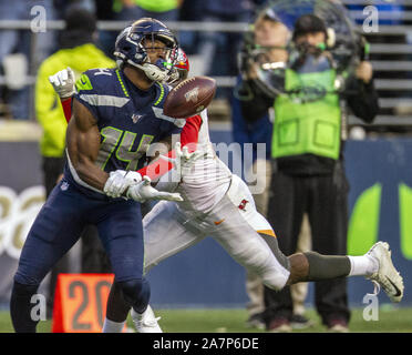 Seattle, United States. 03rd Nov, 2019. Seattle Seahawks wide receiver D.K. Metcalf (14) is interfered from catch a pass by Tampa Bay Buccaneers defensive back Jamel Dean (35) during overtime at CenturyLink Field on Sunday, November 3, 2019 in Seattle, Washington. The Seahawks beat the Buccaneers 40-34 in overtime. Jim Bryant Photo/UPI Credit: UPI/Alamy Live News - Stock Photo