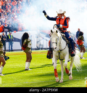 November 03, 2019: Denver Broncos mascot Thunder runs on the field before the game between Denver and Cleveland at Empower Field in Denver, CO. Denver hung on to win 24-19 to improve to 3-6. Derek Regensburger/CSM. - Stock Photo