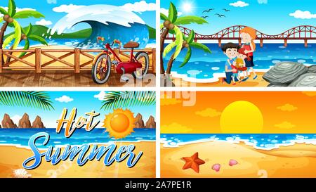 Four background scenes with family on the beach illustration - Stock Photo