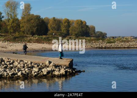 Ferry terminal when river rhine at historic low level, Cologne, Germany - Stock Photo