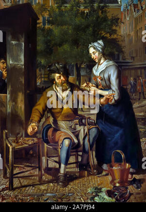 Cobbler working on the street, by Matthijs Naiveu 1647-1726 The Netherlands, Dutch, ( mending shoes and taking care ) - Stock Photo