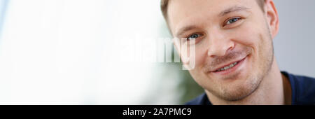 Handsome and Smiling Male Face Closeup Portrait - Stock Photo