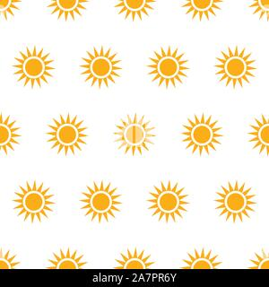 Seamless pattern with suns on white background. Vector Illustration - Stock Photo