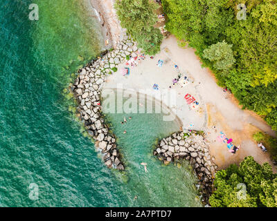 Drone view of beach in Italy - Stock Photo