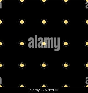 Seamless pattern with suns on dark blue background. Vector Illustration - Stock Photo