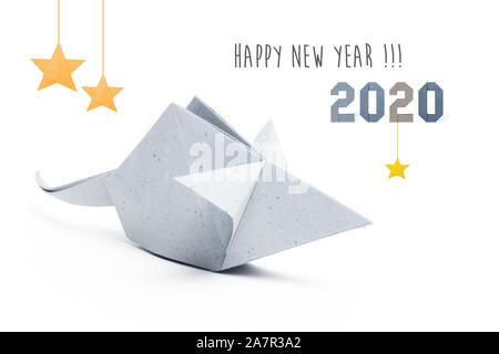 Chinese new year 2020 rat zodiac origami paper silver on white background - Stock Photo