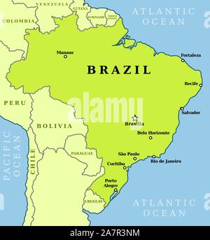 Map of Brazil. Country outline with 10 largest cities ...