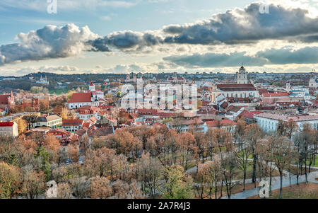 Vilnius, Lithuania - October, 2019 : Old town with red roofs and churches, aerial cityscape view of Vilnius city, Lithuania
