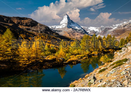 Materhorn at autumn in Zermatt, Switzerland. Beautiful mountain landscape. - Stock Photo