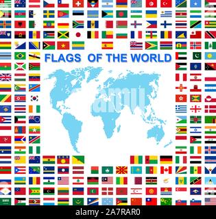 Set of Flags of world sovereign states signed by the countries names. - Stock Photo