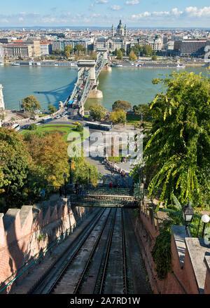Budapest Castle Hill Funicular Railway and Széchenyi Chain Bridge - Stock Photo