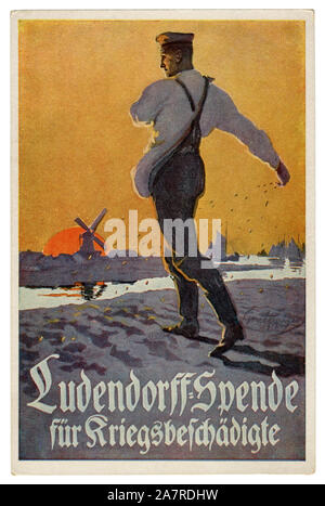 German historical postcard: soldier sows the seed on the field. Sunset. Ludendorff donation for the victims of the war, world war one 1918. Germany - Stock Photo