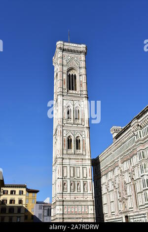 Campanile di Giotto with blue sky. Florence, Italy. - Stock Photo