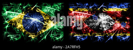 Brazil, Brazilian vs Swaziland, Swazi New Year celebration sparkling fireworks flags concept background. Combination of two states flags. - Stock Photo